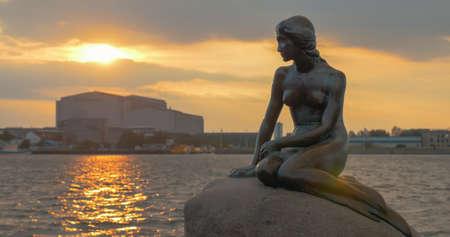 The Little Mermaid statue on the stone. Copenhagen, Denmark
