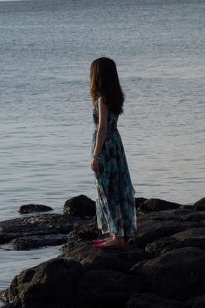 A young thin teenage girl in a long dress, standing on a rocky coast, looking far in the sea. We see her from the back Imagens