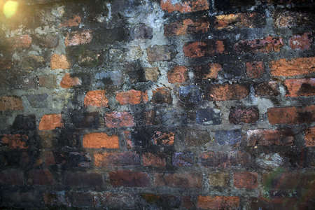 A fragment of an old brick wall, decorated  with mold and dust