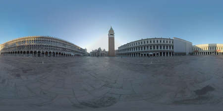 360 photo - Scene of St. Marks square in early morning. View with Basilica and Campanile. Few people walking and workers cleaning the square
