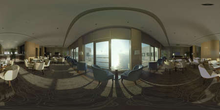 360 photo - Interior of restaurant on the top floor on the hotel. Sea scene with bright sunshine in floor-to-ceiling windows. Antalya, Turkey Фото со стока
