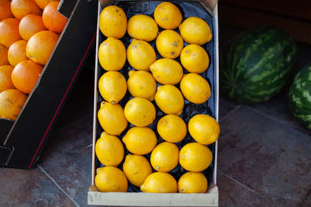 A closeup of bright yellow lemons in a box on a stone floor. There are two watermelons on the background and a box of oranges