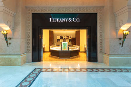 DUBAI, UAE - NOV 12, 2018: The Tiffany & Co jewelry store located in Atlantis hotel in Dubai, UAE. Tiffany & Co is among most recognized luxury brands of jewelry in the world.