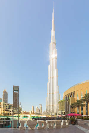 DUBAI, UAE - November 09, 2018: Burj Khalifa tower with I love Dubai text in front. This skyscraper is the tallest man-made structure in the world, measuring 828 m. Completed in 2009. December 27, 2013 Dubai, UAE Editorial