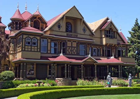 spooky house: Front view of the Winchester Mystery House in San Jose, CA. Stock Photo
