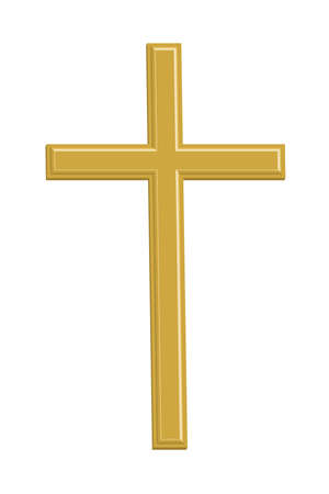 Gold cross on white background