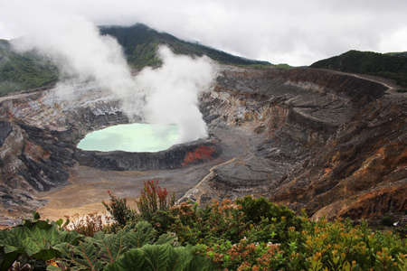 A hot sulfuric acid lake sits in the crater of Costa Ricas Poas Volcano.
