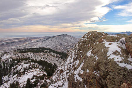 horsetooth rock: Snow covered foothills seen from atop Horsetooth Rock near Fort Collins, Colorado.