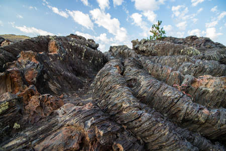 Folded lava rock at Craters of the Moon National Monument.
