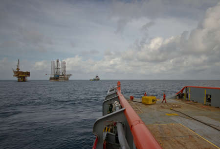 Anchor Handling Operation of an Offshore Jack Up or rig platform at sea