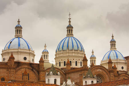 The blue tiled domes of Cathedral of the Immaculate Conception in Cuenca Ecuador which is also known as the New Cathdral