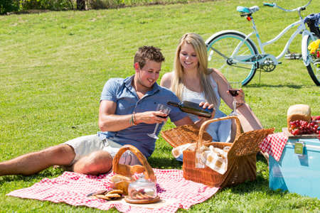 happy moment: A young couple shares a happy moment picnicing on the grass in the countryside