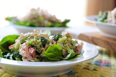brocoli: Fresh chicken and brocoli salads on the table for lunch. Stock Photo