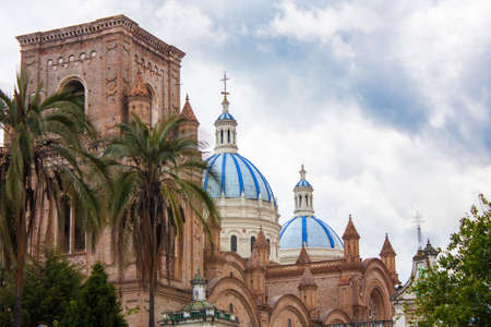 The Blue cathedral domes of New Cathedral and Parque Calderon, the town square in Old Quenca Ecuador Stock Photo