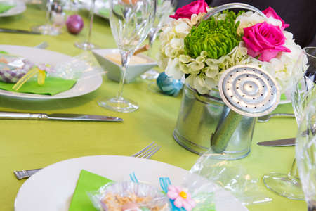 lates: A cheerful Easter table all set for guesets arrival Stock Photo