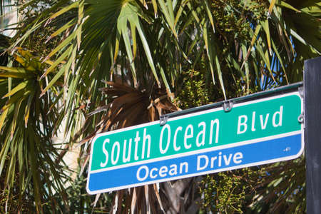 grand strand: sign for South Ocean Blvd, that is lined with hotels along the beach strip in Myrtle Beach, South Carolina