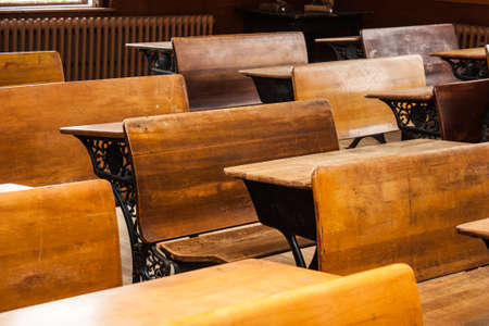 schoolhouse: These antique desks still sit in rows waiting for the long gone students to return at the Lunenburg Academy in Nova Scotia