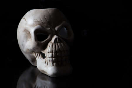 blackness: a creepy skull side lit with shadows falling off into blackness on a black background