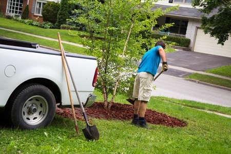 paysagiste: un homme travaille dans sa cour le week-end à un nouveau jardin à son aménagement paysager Banque d'images