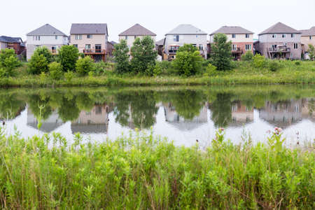 The storm water management pond in the Hyde Park neighborhood in London Ontario also serves as a natural area and green space.