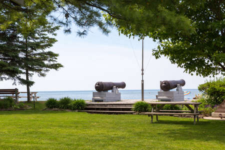 Canons pointing out over LAke Huron at Pioneer Park Southampton Ontario