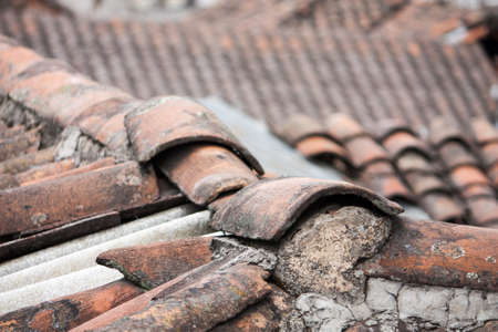 typical: typical red clay tile roofs in old Centro Quito, Ecuador Stock Photo