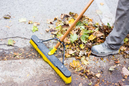 home owner: A home owner or worker doing the annual fall leaf clean up from the gutter and sidewalks
