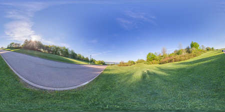 360 panorama of historic Battlefield park in Quebec city that now serves as a multi purpose healthy living greenspace for bicycling, walking, picnics and more Stock fotó