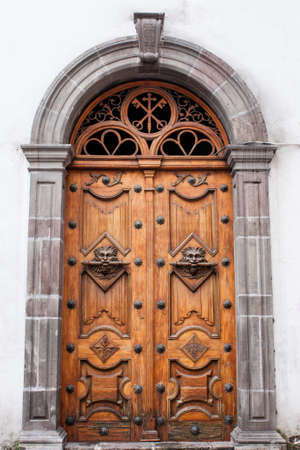 Ornate architectural feature door in Cuenca Ecuador Archivio Fotografico