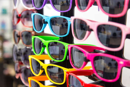a fun display of fun colored sunglasses