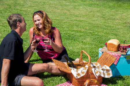 Loving middle aged couple having a picnic in the summer Standard-Bild