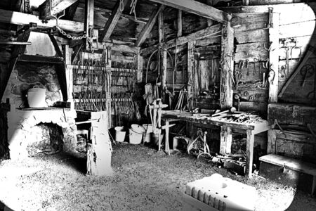 Historic wood workers Shed. Part of Saugus Iron Works first integrated iron works in North America in operation between 1646 and approximately 1670 Banco de Imagens
