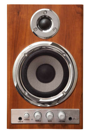 sub woofer: old wooden stereo 2-way system, isolated on white Stock Photo