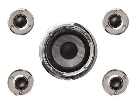 sub woofer: 5 audio speakers isolated on white