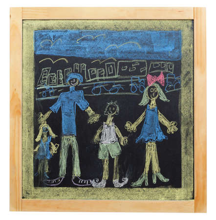 child s drawing of family on chalkboard photo