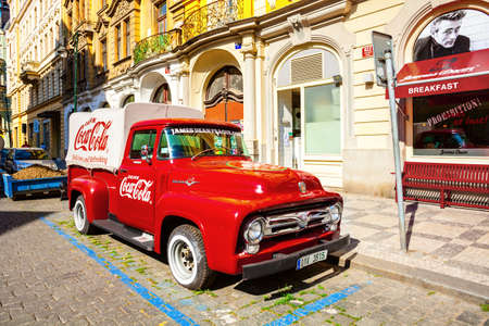 PRAGUE, CZECH REPUBLIC - JUNE 15, 2017: A retro pickup Ford F-100 (1956 model year), red Coca cola truck, F-Series naming scheme would remain in place to the present day, in Czech Republic on June 15, 2017