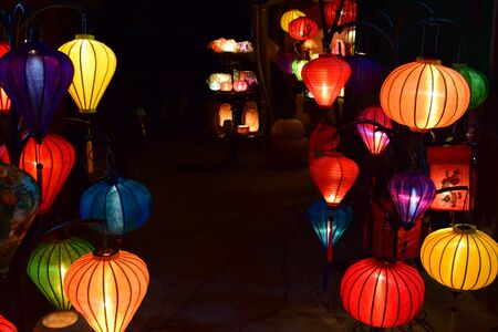 Colorful lampions at night market in Hoi An, Vietnam.