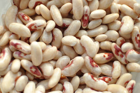 Scattered white motley haricot beans. Top view