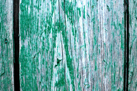 Cracked weathered emerald green shabby chic painted wooden board texture, front view, selective focus Stok Fotoğraf