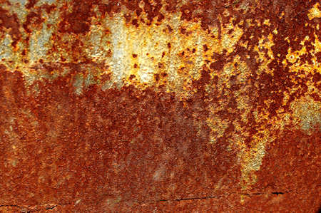 Texture of an old rusted metal iron sheet. Detailed rust texture backdrop