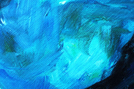 Blured texture of a canvas with large brushstokes of blue oil paint. Close-up, soft focus, blur.