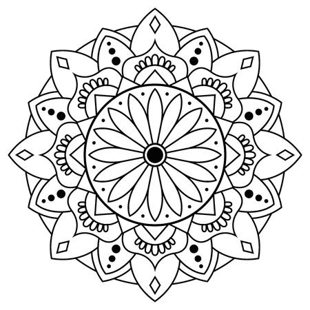 Floral unique hand drawn mandala, zen calming adult coloring book black and white ornament, beautiful flower lotus round vector mandala Иллюстрация