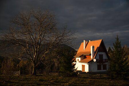 late autumn dramatic landscape from Bran, Brasov, Romania, Transylvanya