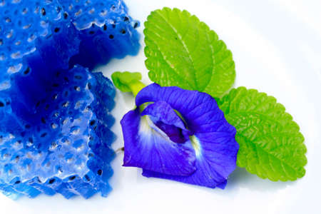 pea shrub: Butterfly pea flower jelly with lemon basil jelly Stock Photo