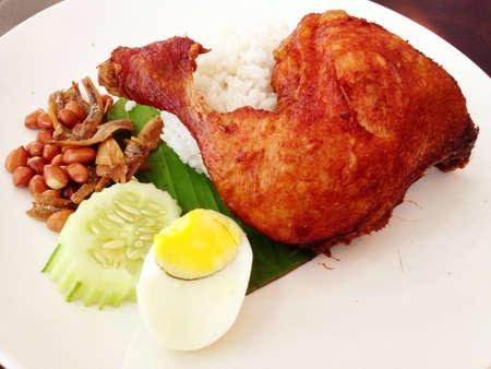 lemak: Nasi Lemak, a Malaysian coconut milk rice Stock Photo