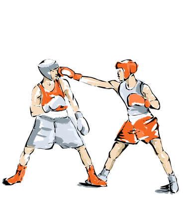 terrain de handball: Boxe illustration, la boxe athlète qui pratique Banque d'images