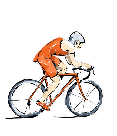 pentathlon: Cycling illustration, athlete who practices sports