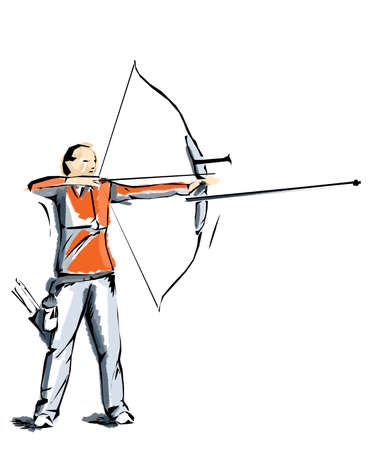 pentathlon: archery illustration, athlete who practices sports Stock Photo