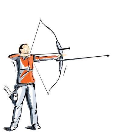 natación sincronizada: Ilustración de tiro con arco, atleta que practica el deporte