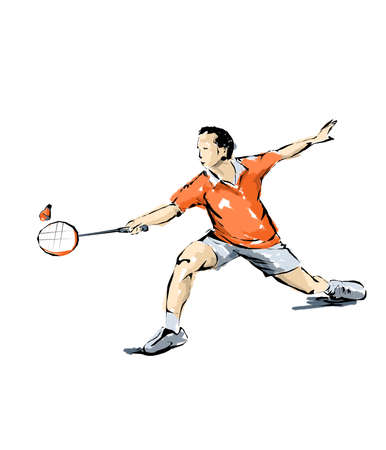 pentathlon: badminton illustration, man practicing sports